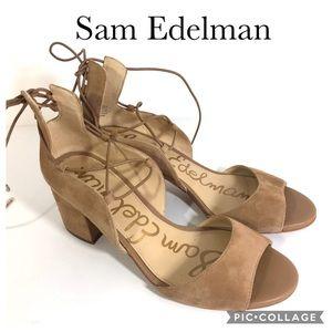 Sam Edelman Serene Lace Up Sandal Tan Leather 6.5M